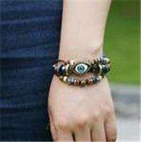 0LYj-Retro Leather Bracelet Beaded Eyes Bracelets