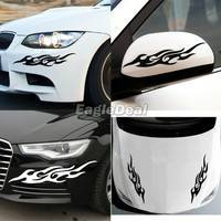 13eS-2PCS Cool Fashion Racing Car Reflective Stickers Flame Fire Sticker Car Bumper Door Body Vinyl Decor