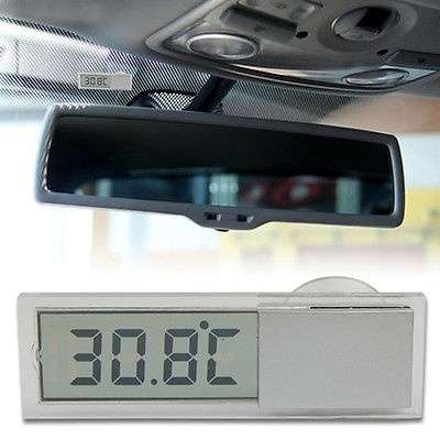 Car Windshield Rear View Mirror LCD Digital Room Temperature Meter Thermometer