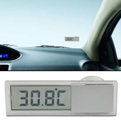 Car Windshield Rear View Mirror LCD Digital Room Temperature Meter Thermometer-4