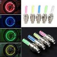 1P5k-2PCS Bike Light Mountain Road Bicycle Tyre Tire Valve Caps Lights MTB Spokes LED Wheel Cycling Bicycle Accessories Light