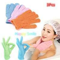 B4mj-3 Pcs Exfoliating Body Scrub Gloves Shower Bath Mitt Loofah Skin Massage Sponge