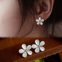 BJu2-Fashion Elegant Girls Cute Solid White Flowers Ear Stud Earrings Jewelry