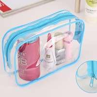 1PC New Clear Transparent Plastic PVC Bags Travel Makeup Cosmetic Bag Toiletry Zip Pouch 3 Colors-2