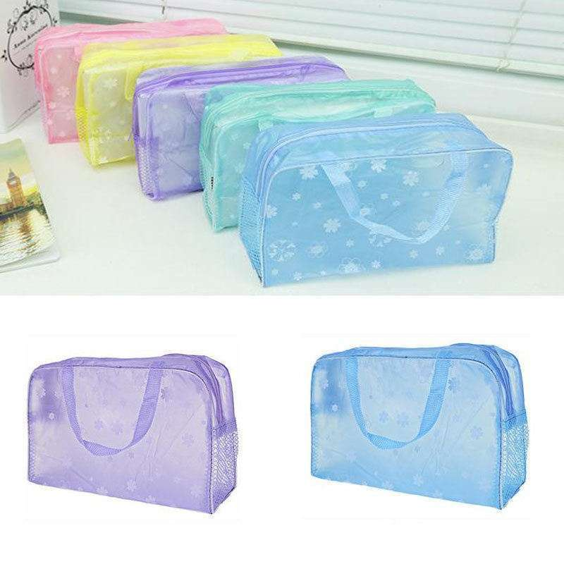 Hot Clear and Waterproof Bag Wash Case Toiletry Organizer Travel Make Up Totes-5