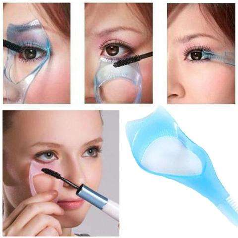 Guide Color Random Protect Eyes 3-In-1 Eyelash Comb Template Applicator Tool Make Up Brush Mascara Shield