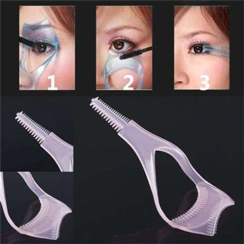 Guide Color Random Protect Eyes 3-In-1 Eyelash Comb Template Applicator Tool Make Up Brush Mascara Shield-5