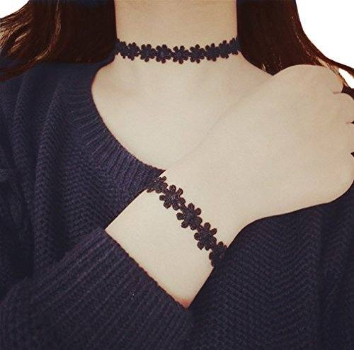 Vintage Daisy Tattoo Lace Choker Necklace Bracelet Black 2 In 1 Set