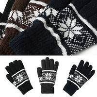 C99N-Fashion Men Unisex Winter Warm Knit Wrist Gloves Nordic Snowflake Mittens