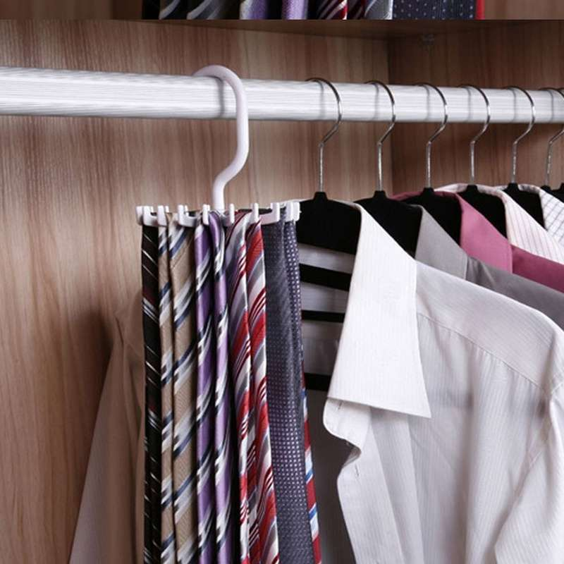 Rotating Tie Rack Organizer Hanger Closet Storage Scarf Holds 20 Neck Ties