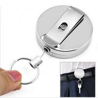 CL69-1 Pcs Full Metal Keychain Stainless Steel Recoil Ring Belt Clip Pull Key Chain