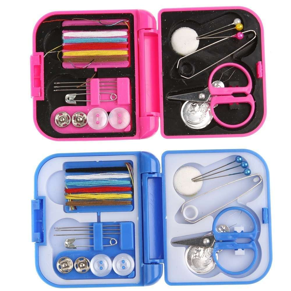 Portable Mini Travel Sewing Kits Box Blue Red Needle Threads DIY Home Tools