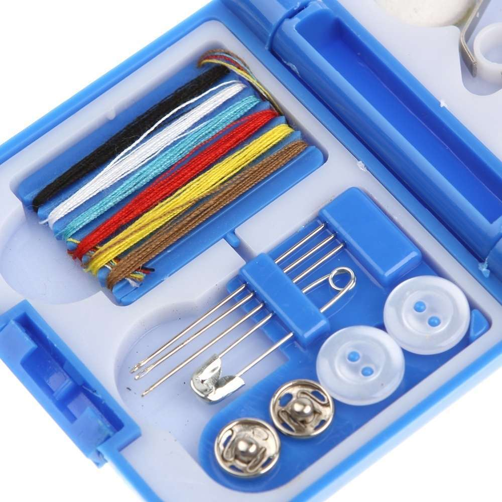 Portable Mini Travel Sewing Kits Box Blue Red Needle Threads DIY Home Tools-1