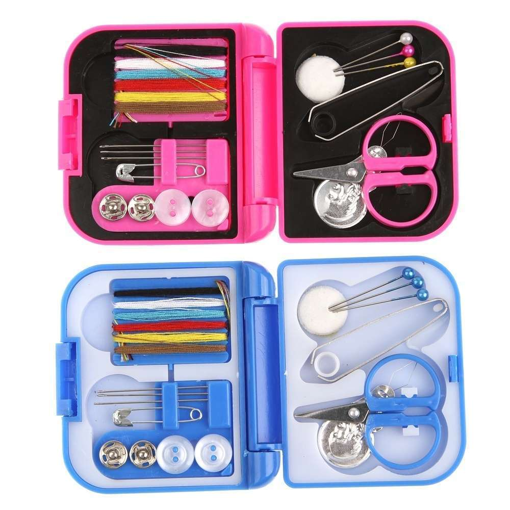 Portable Mini Travel Sewing Kits Box Blue Red Needle Threads DIY Home Tools-4