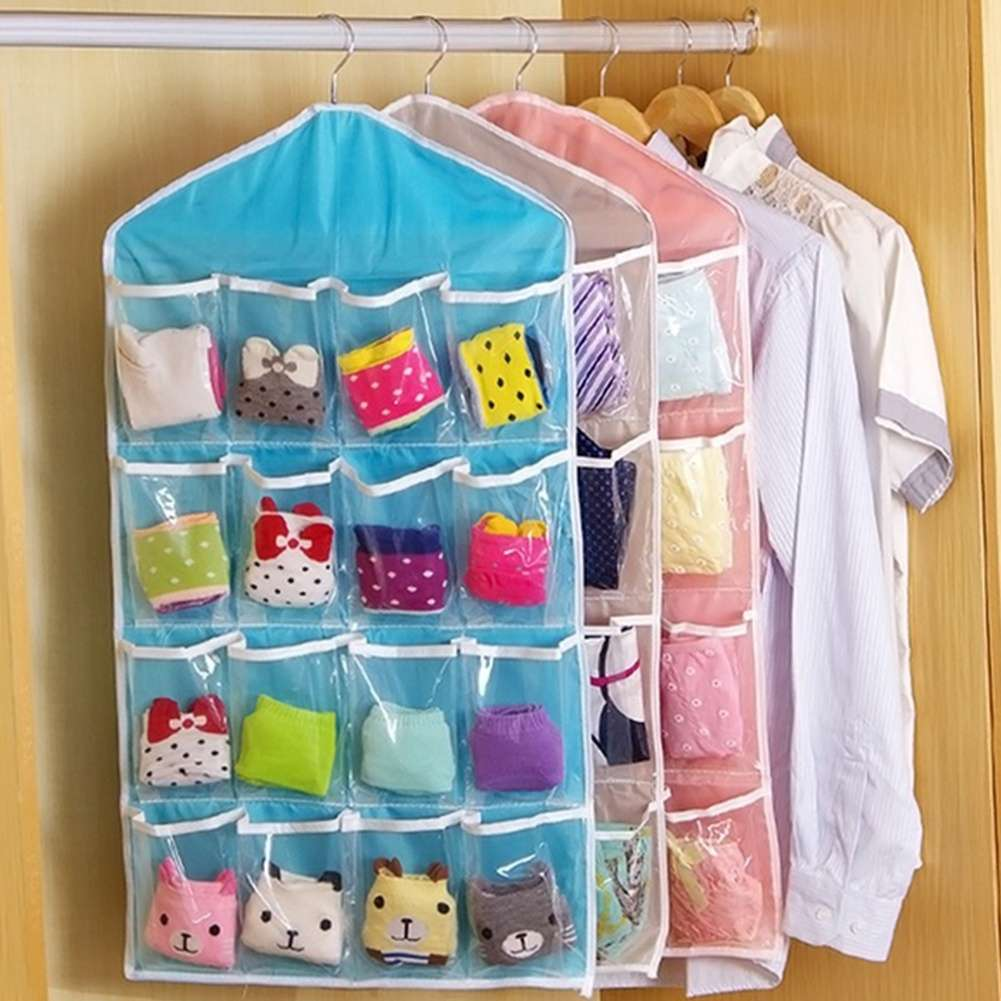 Fashion Life Home Ling Supplies Multi functional 16 Pockets Transparent Closet Tidy Organizer Storage Bag
