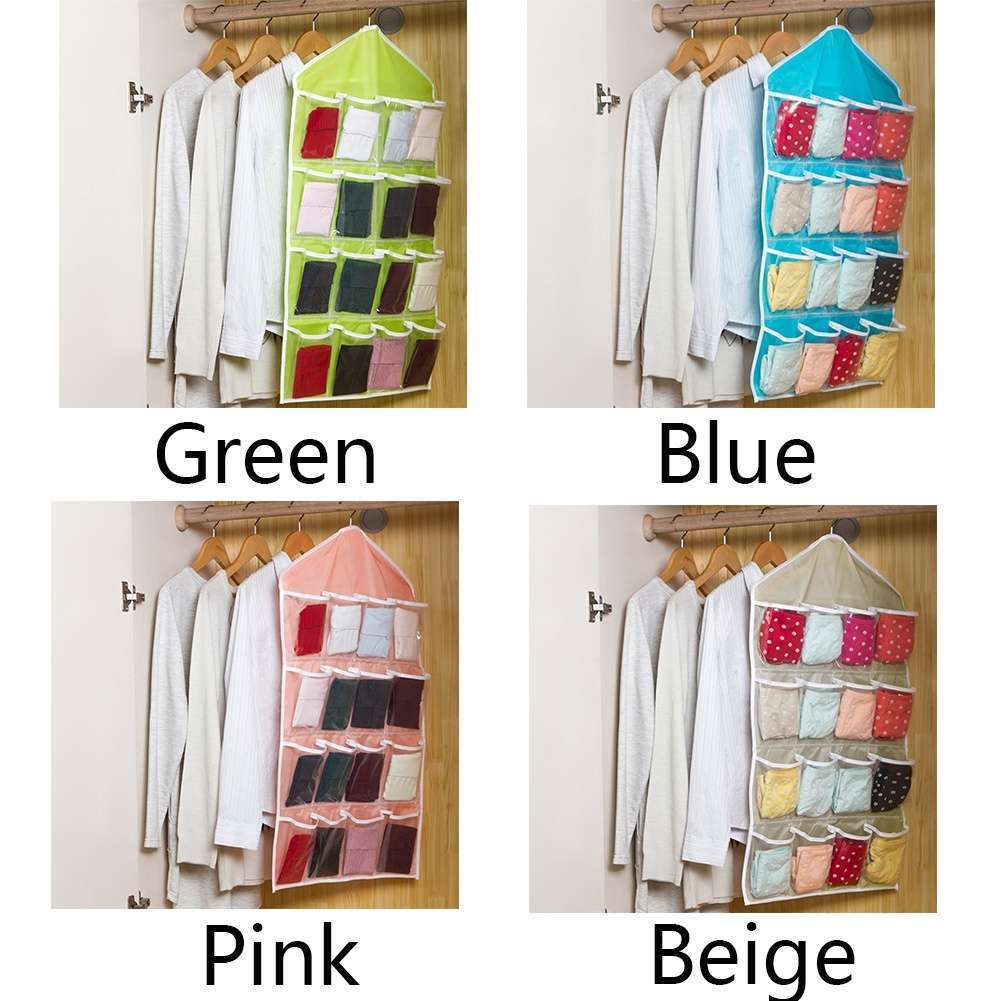 Fashion Life Home Ling Supplies Multi functional 16 Pockets Transparent Closet Tidy Organizer Storage Bag-1