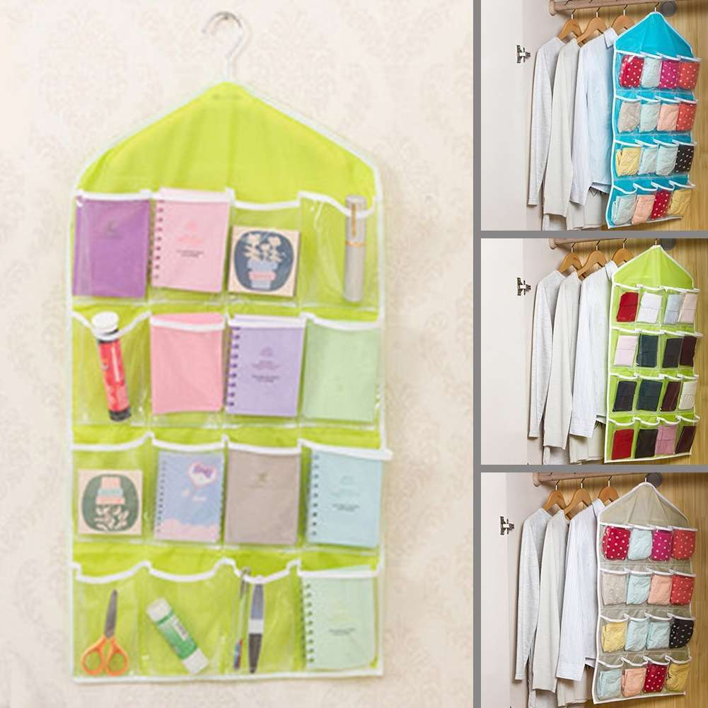 Fashion Life Home Ling Supplies Multi functional 16 Pockets Transparent Closet Tidy Organizer Storage Bag-3