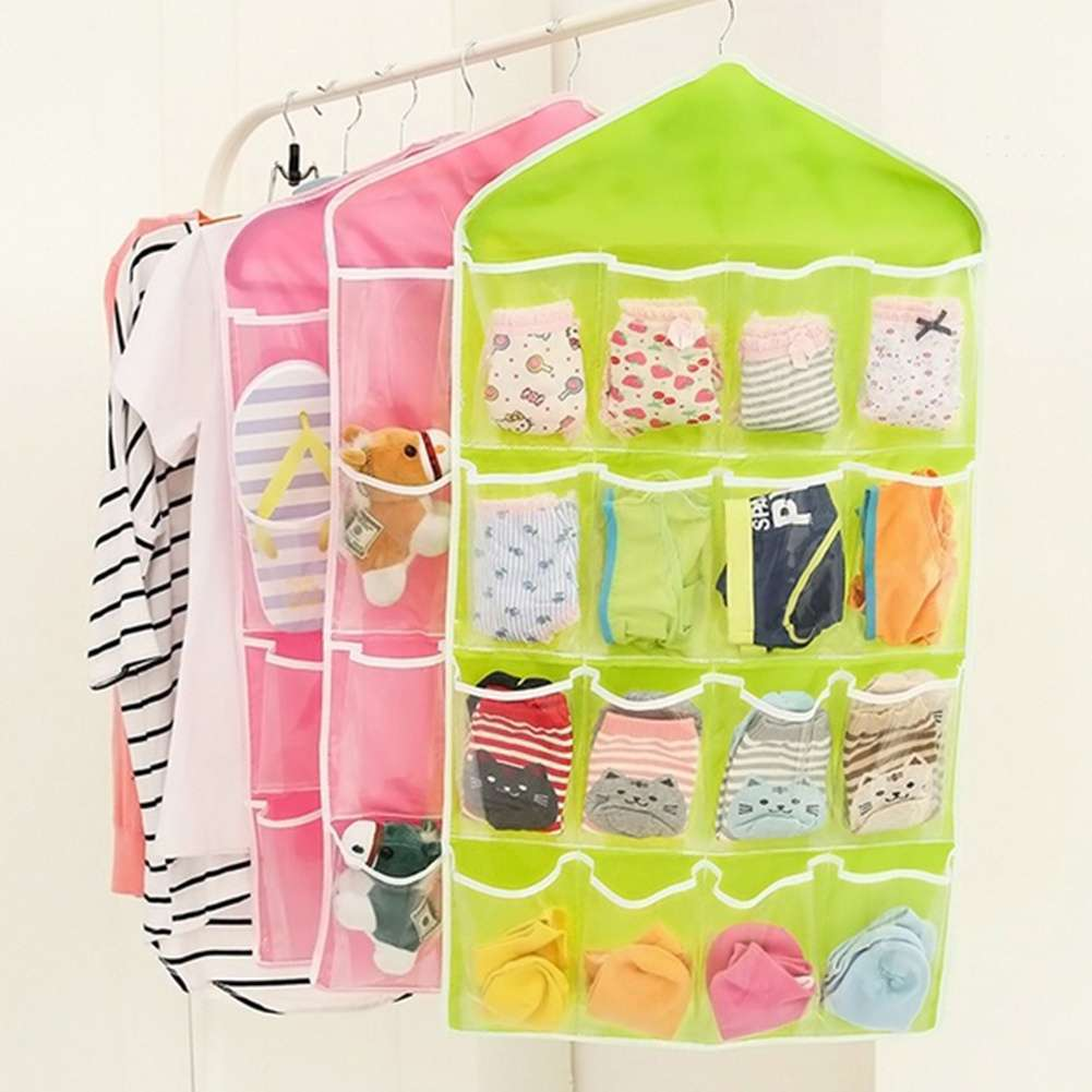 Fashion Life Home Ling Supplies Multi functional 16 Pockets Transparent Closet Tidy Organizer Storage Bag-6