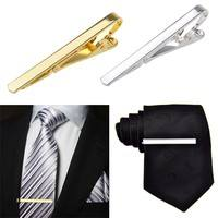 CvRk-Men Tie Clip Metal Silver Gold Tone Simple Bar Clasp Practical Necktie Clasp