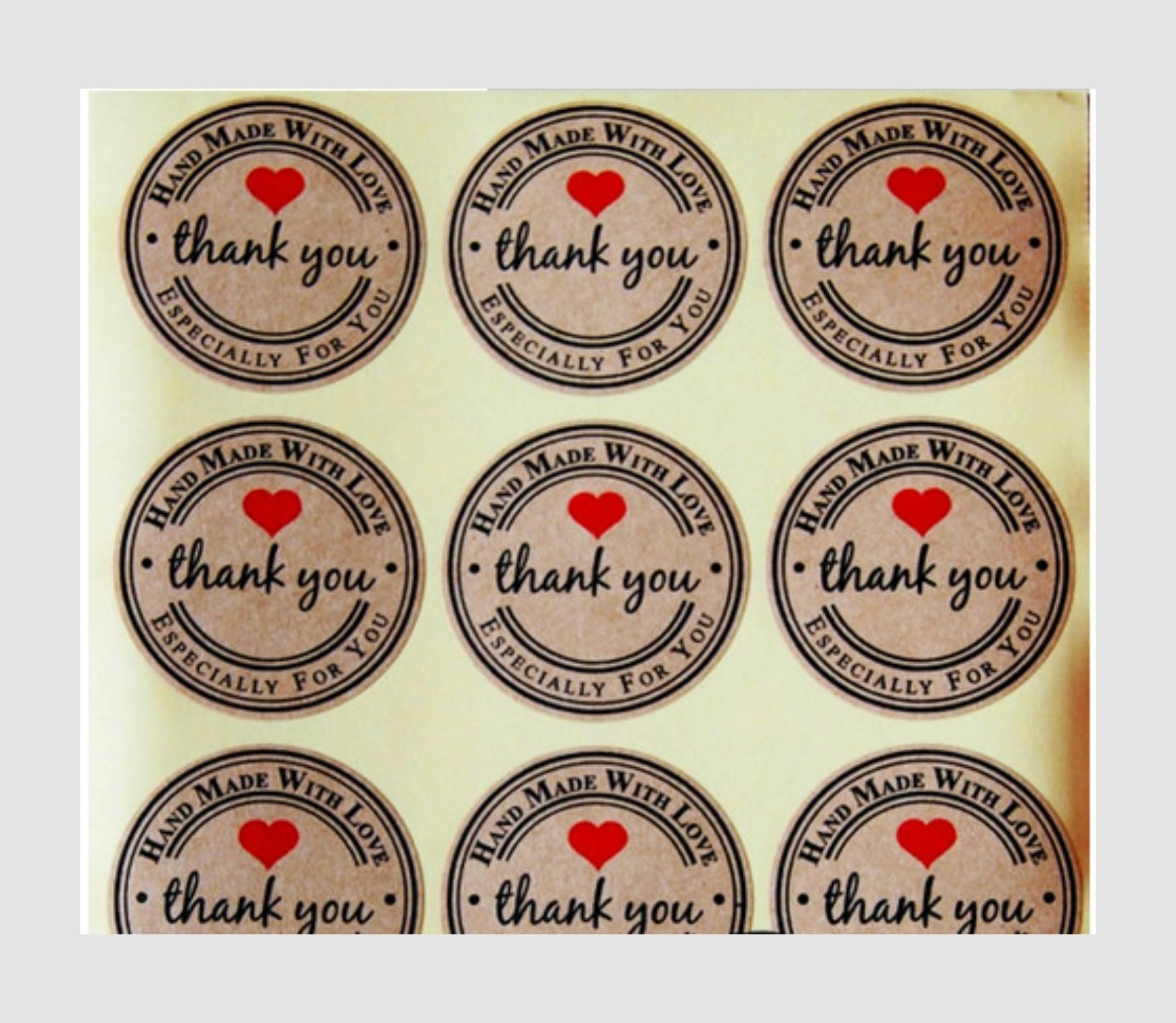 120pcs Thank You  Craft Packaging Seals Kraft Sticker Labels Sealing Topper