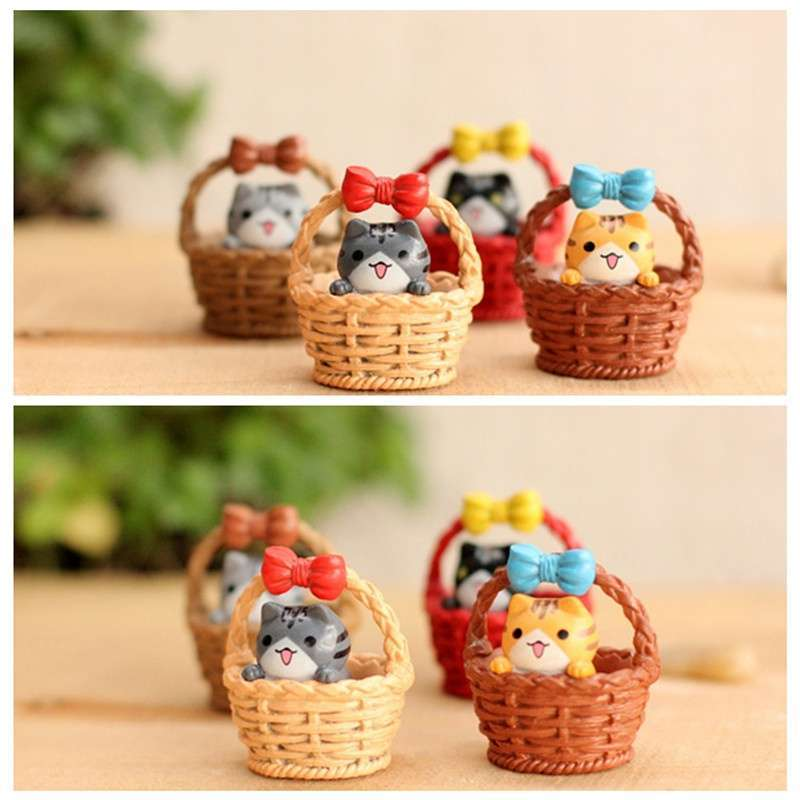 Garden Cat Ornament Miniature Figurine Resin Craft Plant Pots Fairy Dollhouse Decor
