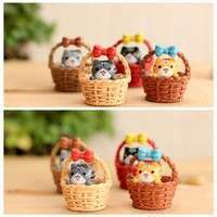 D7LG-Garden Cat Ornament Miniature Figurine Resin Craft Plant Pots Fairy Dollhouse Decor