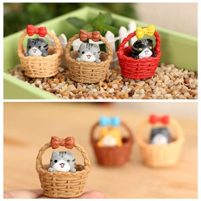Garden Cat Ornament Miniature Figurine Resin Craft Plant Pots Fairy Dollhouse Decor-1