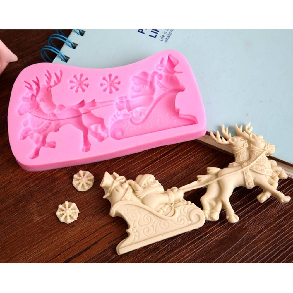 Silicone Xmas Santa Claus Sleigh Deer Sugarcraft Fondant Cake Chocolate Bake Mould
