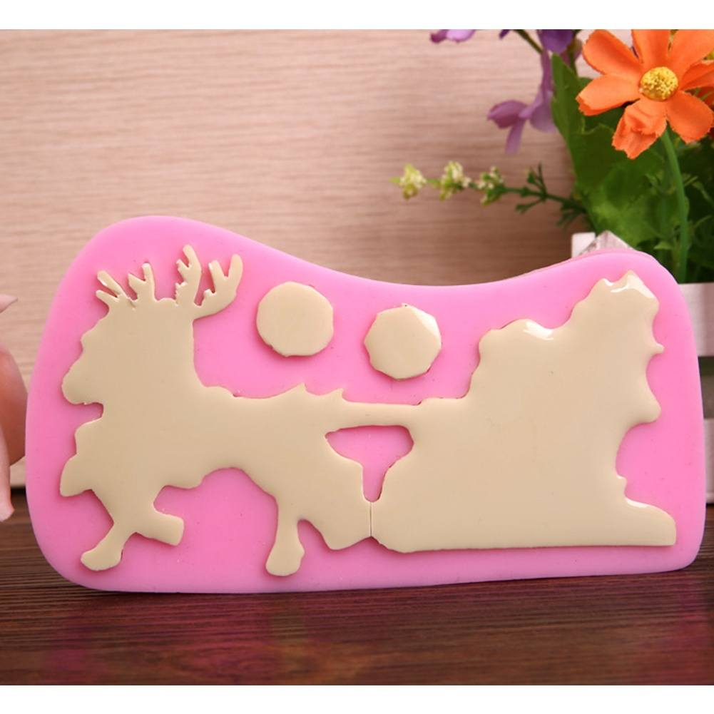Silicone Xmas Santa Claus Sleigh Deer Sugarcraft Fondant Cake Chocolate Bake Mould-2