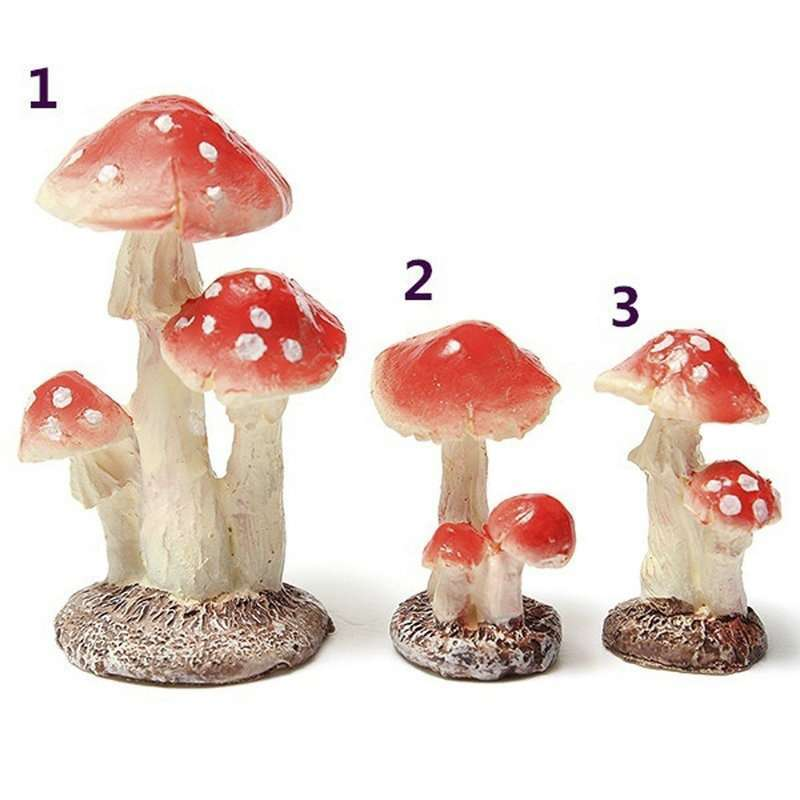 Red Mushroom House Resin Fairy Micro Plant Ornament Decoration Figurine  Miniatures Garden-1