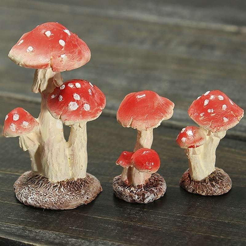 Red Mushroom House Resin Fairy Micro Plant Ornament Decoration Figurine  Miniatures Garden-3
