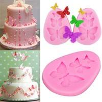 DJWi-3D Butterfly Cake Wedding Decorating Mold Silicone Fondant Chocolate Baking Bakeware Tool Mold