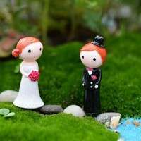 DLc8-1Pair Wedding Lover Miniature Dollhouse Bonsai Fairy Garden Landscape Decor