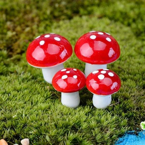10pcs Red Miniature Mushroom Dollhouse Bonsai Fairy Garden Ornaments-1