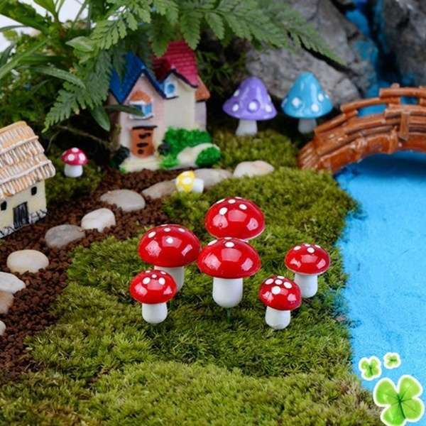 10pcs Red Miniature Mushroom Dollhouse Bonsai Fairy Garden Ornaments-2