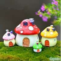 Dcc5-Cute Mushroom House Resin Figurine Craft Plant Pot Fairy Story Decor Garden Ornament