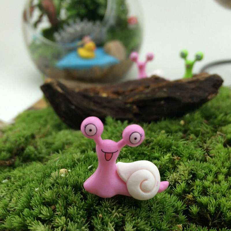 Garden Ornament Miniature Snail Figurine Resin Craft Fairy Dollhouse Decor DIY