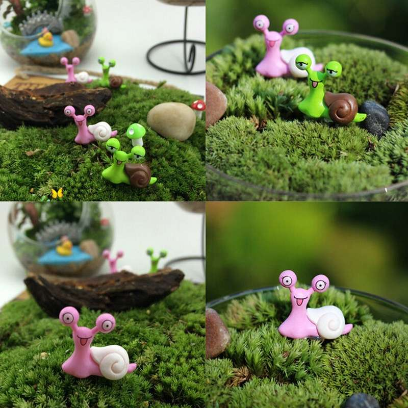 Garden Ornament Miniature Snail Figurine Resin Craft Fairy Dollhouse Decor DIY-1