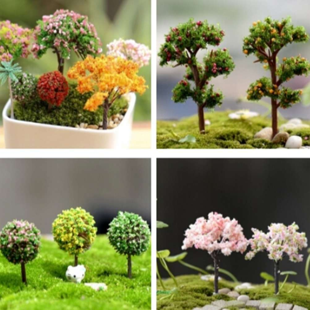 Mini Trees Fairy Garden Dollhouse Moss Plant Figurine DIY Craft Micro Landscape