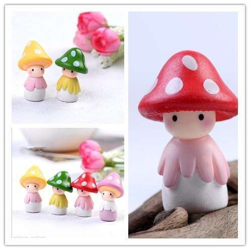 4pcs Garden Ornament Miniature Mushroom Doll Figurine Plant Pot Fairy Dollhouse Decor