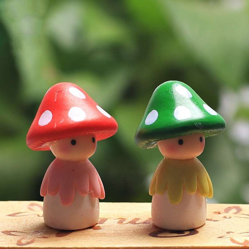 4pcs Garden Ornament Miniature Mushroom Doll Figurine Plant Pot Fairy Dollhouse Decor-1