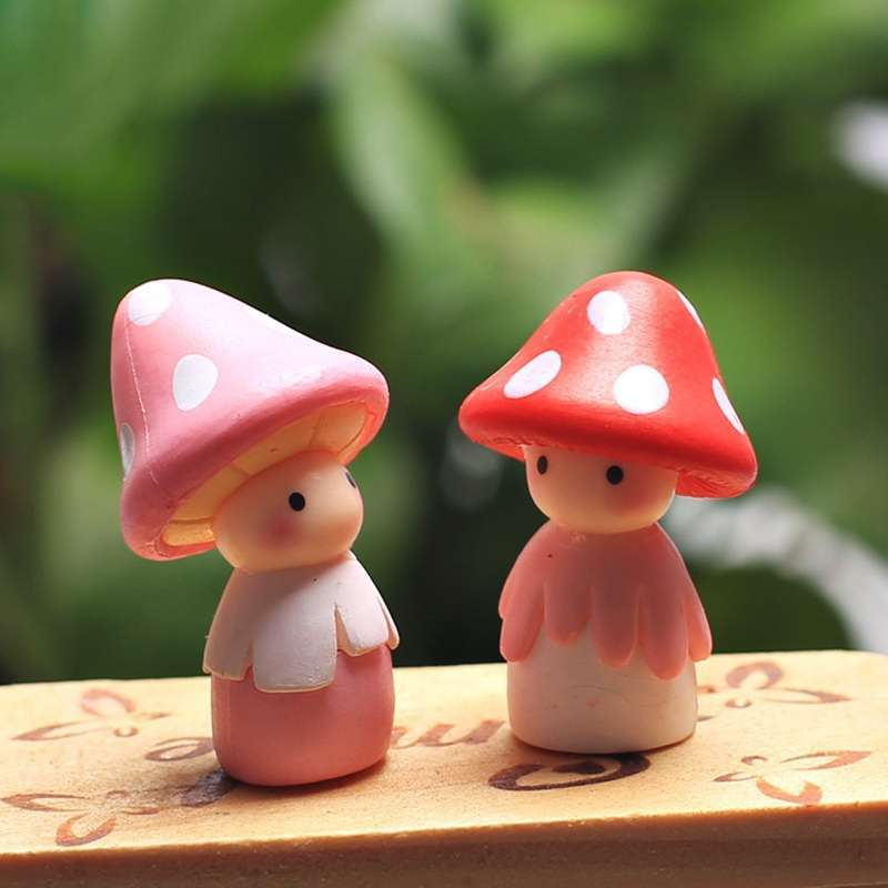 4pcs Garden Ornament Miniature Mushroom Doll Figurine Plant Pot Fairy Dollhouse Decor-2
