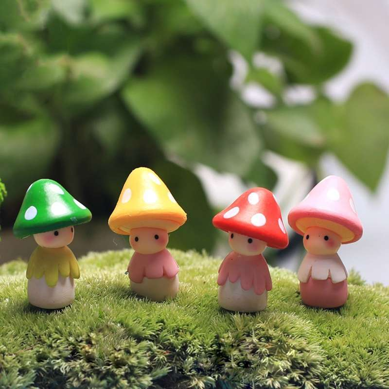 4pcs Garden Ornament Miniature Mushroom Doll Figurine Plant Pot Fairy Dollhouse Decor-3