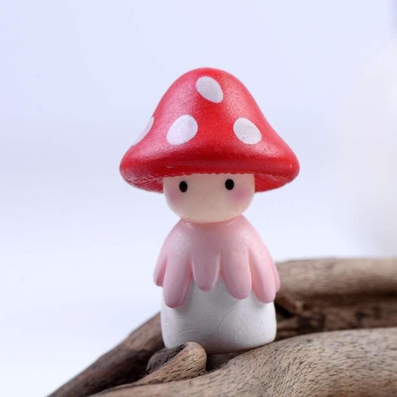 4pcs Garden Ornament Miniature Mushroom Doll Figurine Plant Pot Fairy Dollhouse Decor-4