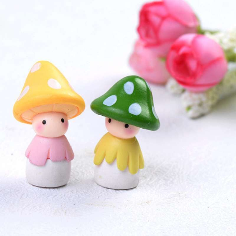 4pcs Garden Ornament Miniature Mushroom Doll Figurine Plant Pot Fairy Dollhouse Decor-5