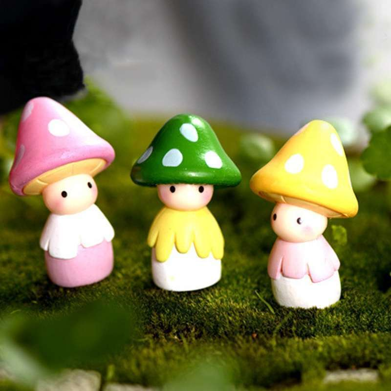 4pcs Garden Ornament Miniature Mushroom Doll Figurine Plant Pot Fairy Dollhouse Decor-7