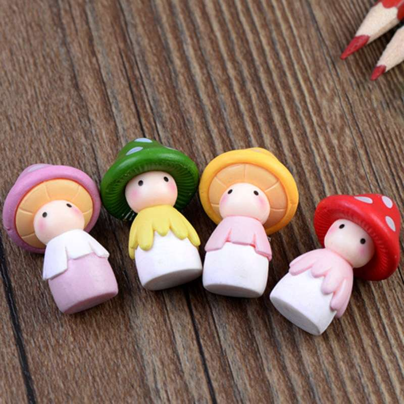 4pcs Garden Ornament Miniature Mushroom Doll Figurine Plant Pot Fairy Dollhouse Decor-8