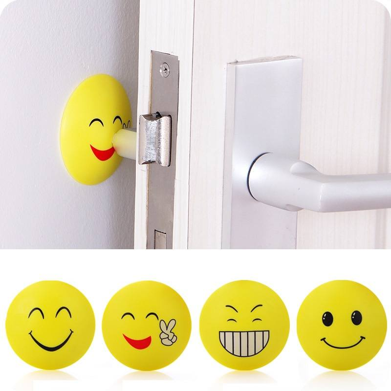 Rubber Door Handle Knob Emoji Crash Pad Wall Self Adhesive Guard Stopper