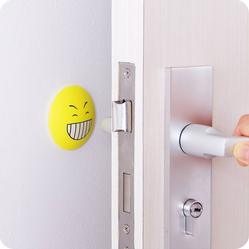 Rubber Door Handle Knob Emoji Crash Pad Wall Self Adhesive Guard Stopper-2