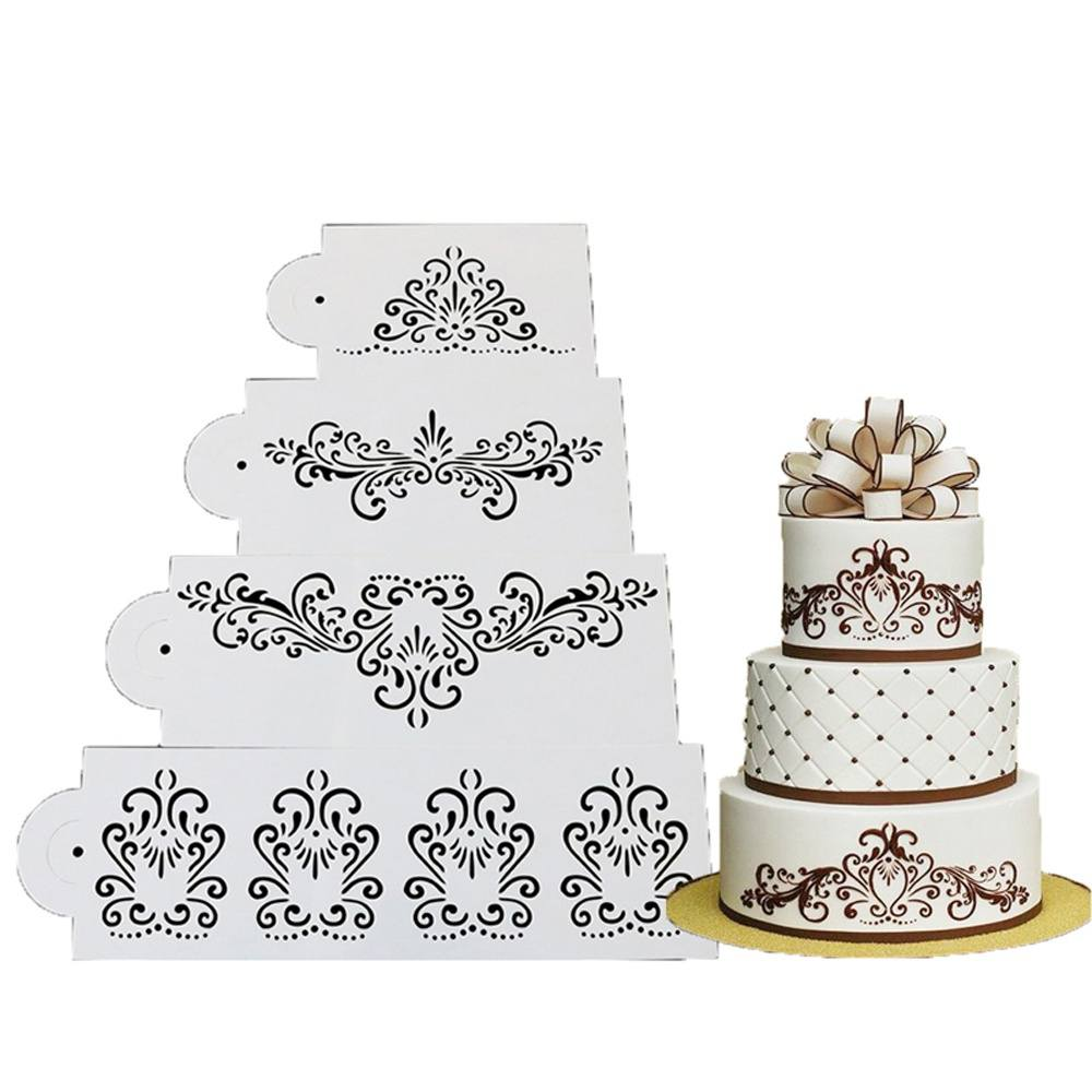 4PCS Wedding Kitchen Cookie Baking Tool Fondant Cake Border Stencil Damask Lace Flower Mould